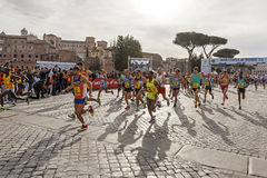 Athletes at the start of the Rome marathon in 2016 Royalty Free Stock Photos