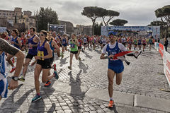 Athletes at the start of the Rome marathon in 2016 Stock Images