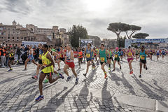 Athletes at the start of the Rome marathon in 2016 Royalty Free Stock Photo