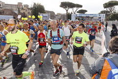 Athletes at the start of the Rome marathon in 2016 Royalty Free Stock Photography