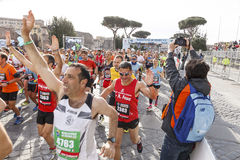 Athletes at the start of the Rome marathon in 2016 Royalty Free Stock Image