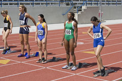 Athletes At Starting Line Ready To Race Royalty Free Stock Photography