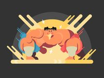 Athletes sumo fight. Sport japan, wrestler japanese fat and strength, vector illustration Royalty Free Stock Photos