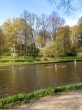 Athletes swim kayak Stock Images