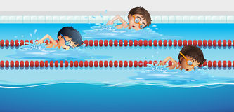 Athletes swimming in the pool. Illustration Royalty Free Stock Photography
