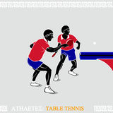 Athletes table tennis Stock Image