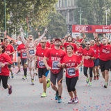 Athletes taking part in Deejay Ten, running event organized by Deejay Radio in Milan, Italy Royalty Free Stock Photo