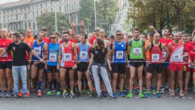 Athletes taking part in Deejay Ten, running event organized by Deejay Radio in Milan, Italy Royalty Free Stock Photography