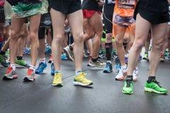 Athletes taking part in Stramilano half marathon Stock Images