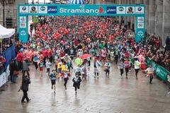 Athletes taking part in Stramilano half marathon Royalty Free Stock Photos