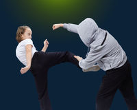 Athletes train self-defense techniques Royalty Free Stock Photo