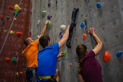 Athletes and trainer climbing wall in gym. Low angle view of athletes and trainer climbing wall in gym Stock Photos