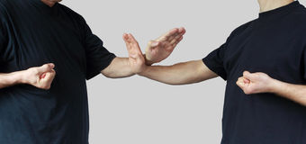 Athletes are training blocks wing chun kung fu Stock Photo