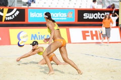 Athletes from USA batter in Country Quota. MOSCOW - JUNE 6: Athletes from USA batter in Country Quota at tournament Grand Slam of beach volleyball 2012, on June Royalty Free Stock Images