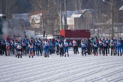 Athletes waiting at marathon start line. Russia Berezniki 11 March 2018 stock images