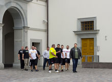 Athletes walk on the palace of the president Stock Image