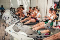 Athletes on a World Rowing Cup Competition warming up royalty free stock photos
