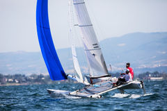 Athletes yachts in action during 2017 Tornado Open World, Globa Stock Photo