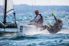 Athletes yachts in action during 2017 Tornado Open World, Globa Royalty Free Stock Image