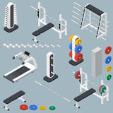 Athletic accessories for fitness center isometric icons set Royalty Free Stock Photos