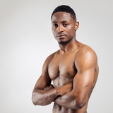 Athletic african american man shirtless Royalty Free Stock Photo