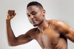 Athletic african american man shirtless Stock Photos