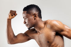 Athletic african american man shirtless Stock Images