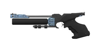 Athletic Air gun, left side profile, black. 3D Illustration professional sports pistol Walther for Athletes with a black handle and zinc plated housing Stock Photos
