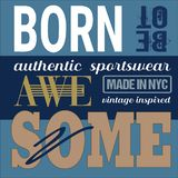 Athletic apparel design T-shirt typography artwork graphics. royalty free illustration