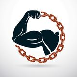 Athletic arm composed with iron chain, symbol of strength, lifte Royalty Free Stock Photography
