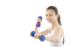 Athletic Asian girl. An Athletic Asian GIrl holding weights Royalty Free Stock Images