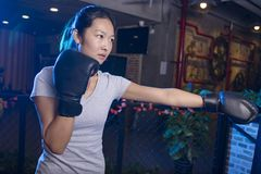 Woman boxing in gym Royalty Free Stock Photo