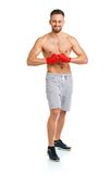 Athletic attractive man wearing boxing bandages on the white Stock Photo