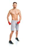Athletic attractive man wearing boxing bandages on the white Royalty Free Stock Images
