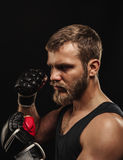 Athletic bearded boxer with gloves on a dark background Royalty Free Stock Photography