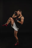 Athletic bearded boxer with gloves on a dark background Stock Photography