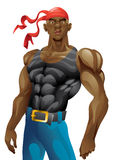 Athletic black man with undervest, undershirt Stock Photos