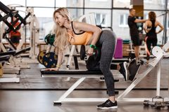 Athletic blond girl with long hair dressed in a sportswear is doing exercise on the bench with dumbbells for triceps in stock photo