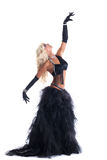 Athletic blond woman posing in black dance costume Stock Photo