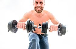 Athletic body. Dumbbell gym. fitness health diet. Muscular man exercising with barbell. man sportsman with strong ab. Torso. steroids. sport equipment. Perfect stock photography