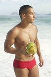 Athletic Brazilian Man Drinking Coconut Rio Beach Royalty Free Stock Image