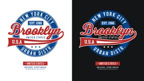 Athletic BrooklynT-shirt Image vector. Athletic New York, t-shirt image, typography design, Vector Royalty Free Stock Images
