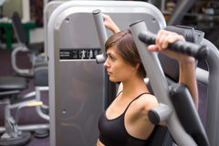 Athletic brunette using weights machine for arms Royalty Free Stock Photos