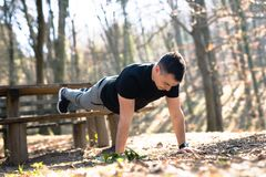 Athletic built man doing pushups and core training in park Royalty Free Stock Images
