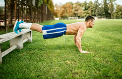 Athletic built man doing pushups and core training in park. Fitness basketball player training on grass Royalty Free Stock Photo