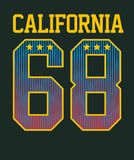 Athletic California. T-shirt graphics, vectors graphic design Stock Photography