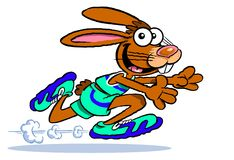Athletic cartoon rabbit running. Cartoon illustration of rabbit with big floppy ears, wearing shorts, matching top and gym shoes, running very fast, white Royalty Free Stock Photos