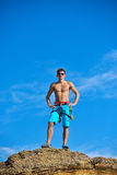 Athletic climber man Stock Images