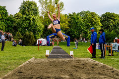 Athletic competition `Jumping to music - Long Jump & Music` in Uzhhorod Stock Photo