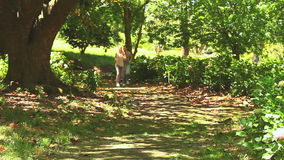 Athletic couple jogging in the wood. Athletic couple taking a rest while running on a woodland path stock video